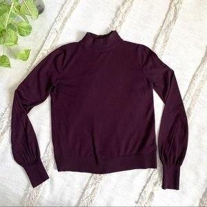 Topshop Plum Mock Turtleneck Long Sleeve Top
